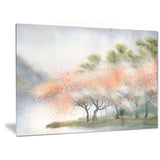 trees with flowers near river landscape canvas print PT6359