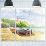 watercolor fishing boats landscape canvas print PT6360