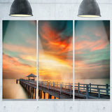 wooden pier landscape photo canvas art print PT6424
