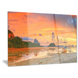 boat at sunset panorama landscape photo canvas print PT6448