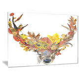 Roe Deer with Flowers Digital Art Floral Canvas Print