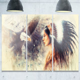 indian woman and eagle portrait canvas art print PT6526