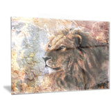 peaceful lion animal canvas art print PT6528