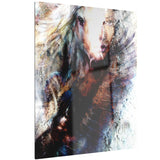 woman and horse with flying eagle collage canvas art print PT6541