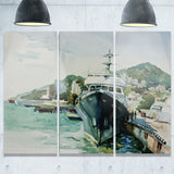 yacht in port yalta landscape canvas artwork print PT6565