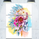 skull and flowers digital floral canvas art print PT6632
