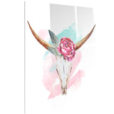 bull skull and flower floral digital canvas art print PT6634