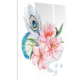flowers and peacock feather floral canvas art print PT6637