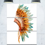 feathers on ethnic skull digital canvas art print PT6638