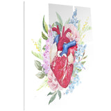watercolor heart with flowers digital canvas art print PT6645