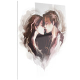 couple of lovers kissing romantic canvas art print PT6681