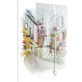 colorful illustration of city cityscape canvas print PT6683