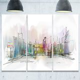 city in a distance illustration cityscape canvas print PT6694