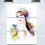 woman with perfume bottle portrait contemporary canvas art print PT6710