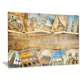 vintage collage cards contemporary canvas art print PT6733