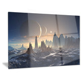 alien planet with mountains contemporary canvas art print PT6739