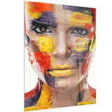 woman with colorful face contemporary canvas art print PT6767
