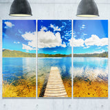 lake with pier panorama photography canvas art print PT6782