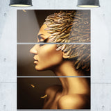 woman with gold feather hat contemporary canvas art print PT6891