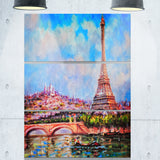 colorful eiffel and sacre coeur photography canvas art print PT6916