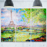 colorful painting of eiffel landscape canvas art print PT6919