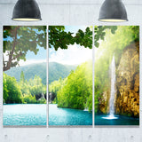 waterfall in deep forest landscape photography canvas print PT6940