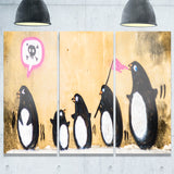 penguin on the wall street art canvas print PT6950