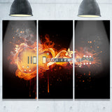electric guitar abstract digital art canvas print PT7150