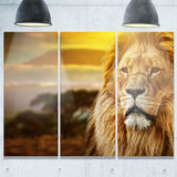 lion and mount kilimanjaro animal digital art canvas print PT7162