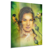 indian woman with birds portrait canvas print PT7188