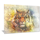 mighty tiger with mystic face digital art animal canvas print PT7192