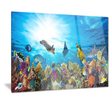 colorful coral reef with fishes seascape photo canvas print PT7216