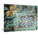 fractal dark orange blue flowers digital floral canvas print PT7287