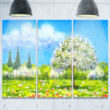 tree in different seasons watercolor landscape canvas art print PT7302