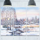 russian winter village landscape photo canvas print PT7310