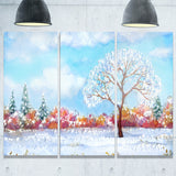 tree in winter watercolor painting landscape canvas print PT7313