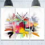 building illustration painting abstract canvas art print PT7316