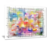 colorful stain design with grid abstract painting canvas print PT7342