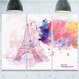 eiffel tower in cloud of colors watercolor painting canvas print PT7350