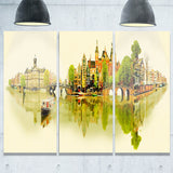 amsterdam panoramic view cityscape watercolor canvas print PT7374