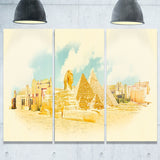 cairo panoramic view cityscape watercolor canvas print PT7376