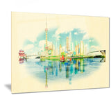 shanghai panoramic view cityscape watercolor canvas print PT7378