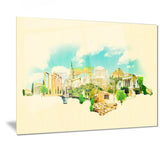 athens panoramic view cityscape watercolor canvas print PT7379
