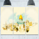 jerusalem panoramic view cityscape watercolor canvas print PT7386