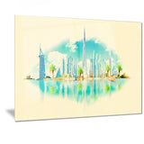 dubai panoramic view cityscape watercolor canvas print PT7388