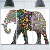 floral cheerful elephant animal digital art canvas print PT7413