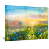 sunset meadow landscape oil painting canvas print PT7421