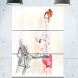 pretty workout with fitness watch digital art canvas print PT7422