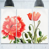 red poppies abstract watercolor canvas art print PT7452