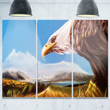 eagle flying in sky digital art animal canvas art print PT7463